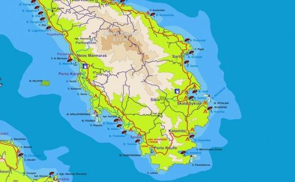 Карта Ситонии с пляжами
